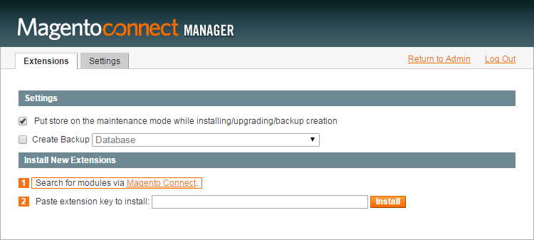 The search facility in Magento Connect Manager