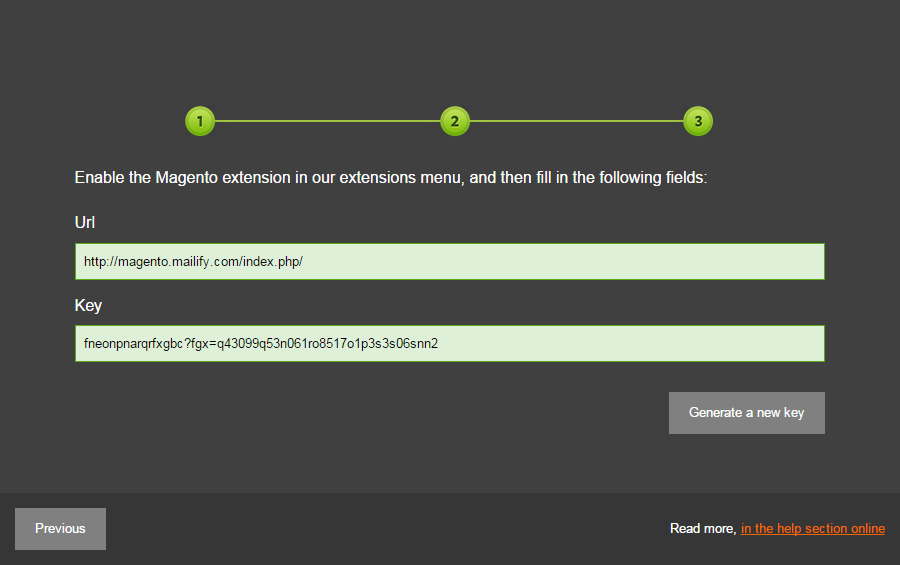 The third step of the configuration in Mailify