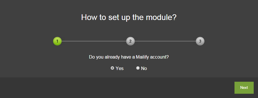 The first step of the configuration in Mailify